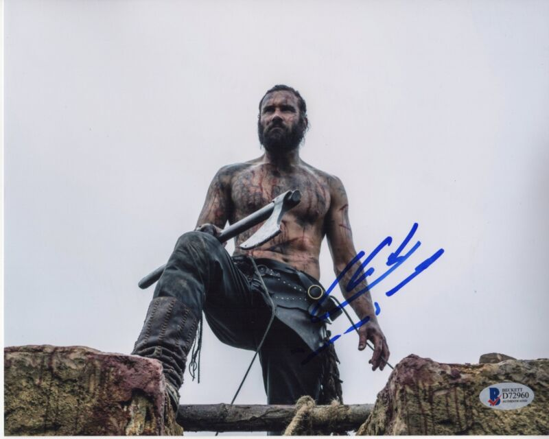 CLIVE STANDEN SIGNED VIKINGS PHOTO 8X10 AUTOGRAPH SHIRTLESS BAS PSA
