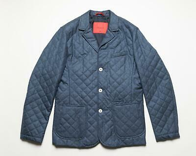 Isaia Blue Quilted 3 Button Wool Slim Coat Outerwear Jacket 50 IT 40 US