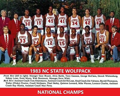 - 1983 NC STATE 8X10 TEAM PHOTO WOLFPACK  BASKETBALL NCAA CHAMPS COLOR