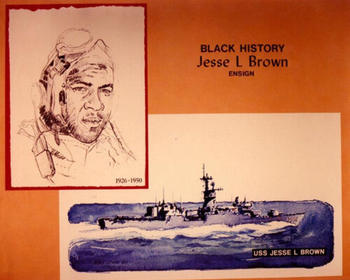 US Navy Artwork-Ensign Jesse L. Brown-First African-American Navy Combat Aviator
