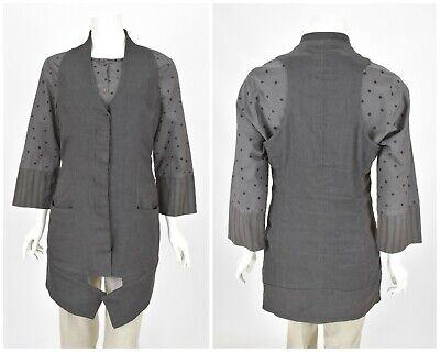 Womens Ilaria Nistri Sleeveless Vest Jacket Long Grey Wool Linen Size IT48 UK14