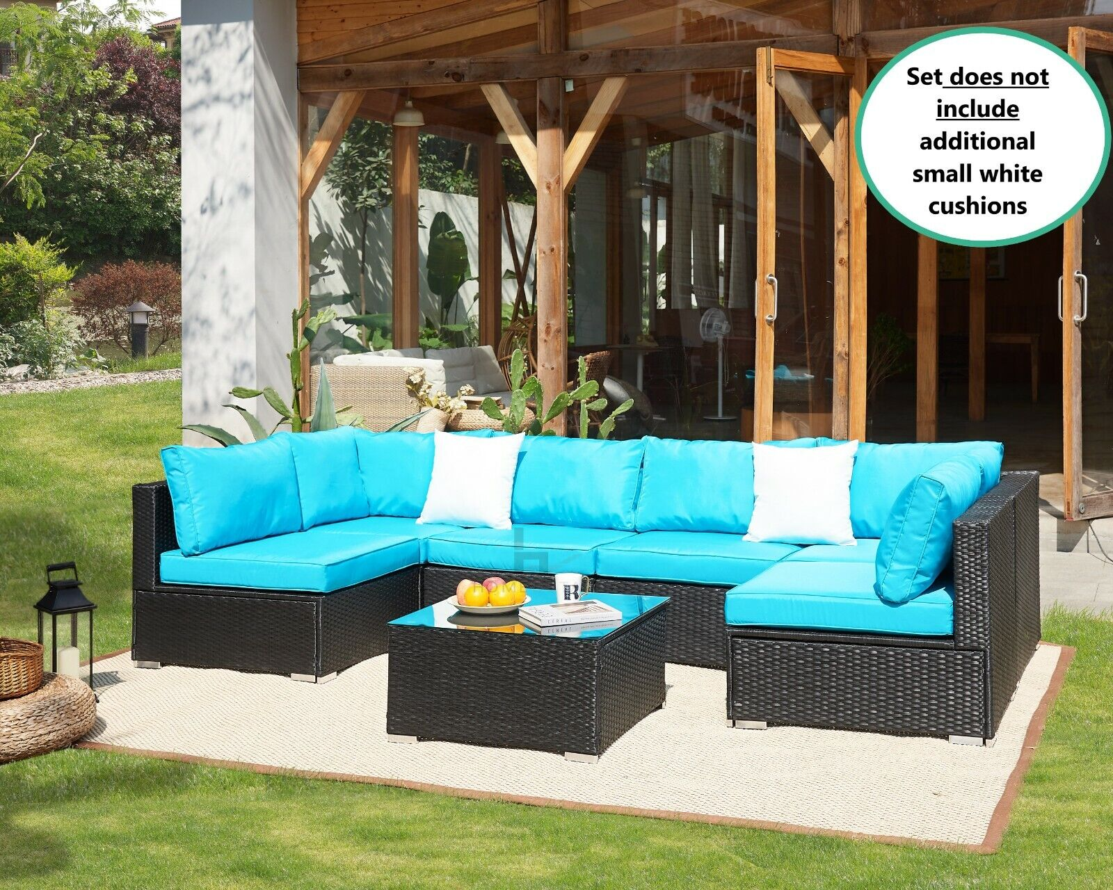 Garden Furniture - Rattan Garden Furniture Sofa Corner Set Black Outdoor Conservatory Patio Dining