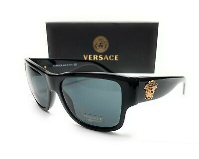 Versace VE4275 GB187 Black Grey Lens Men's Square Sunglasses 58mm