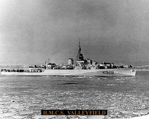 ROYAL CANADIAN NAVY FRIGATE HMCS VALLEYFIELD K 329    8 X10 WITH STATS SHEET