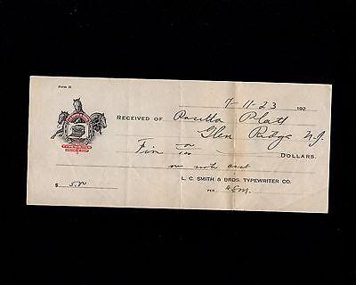 L.C. SMITH & BROS TYPEWRITER ANCILLARY LETTERHEAD & RECEIPT 1923 GREAT LOGO 7P