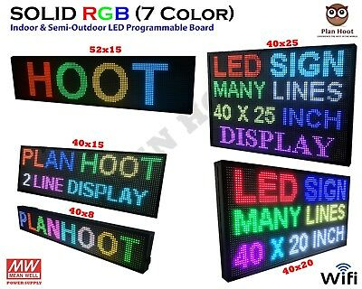 Multiple Dimesnions Led Rgb 7 Color Wifi Indoor Semi-outdoor Scrolling Sign