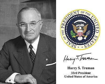 Harry Truman Presidential Seal U.S. Portrait Autograph 8 x 10 Photo Picture