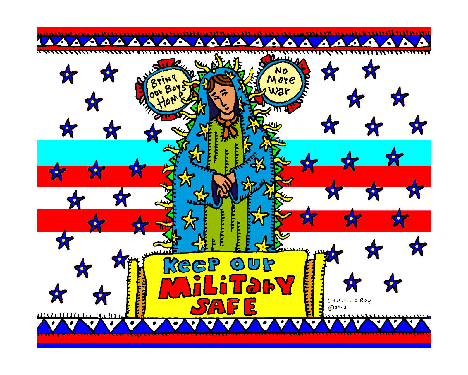 CANDELITO - FINE ART PRINT FROM ORIGINAL DRAWING - KEEP OUR MILITARY SAFE  - $18.00