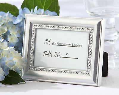 Beaded Silver Photo Frame and Placecard Holder-Set of - Placecard Holder