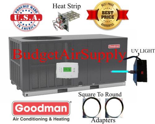 "3 Ton 14 Seer Goodman Heat Pump""all In 1""package Unit Gph1436h41+sq2rd +tstat+uv"