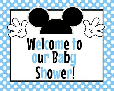 Disney Baby Mickey Mouse STAND UP Welcome to the Baby Shower Blue! 8.5 x 11 in](Baby Mickey Mouse Baby Shower Decorations)