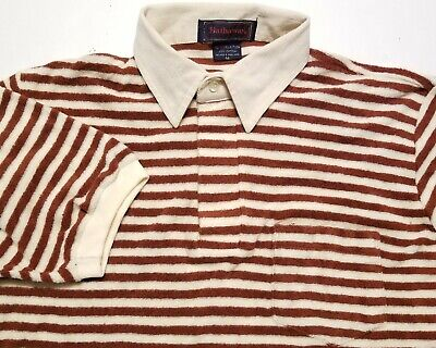 1970s Men's Shirt Styles – Vintage 70s Shirts for Guys Vintage 1970s Hathaway Red H Collection Terry Cloth Polo Medium Shirt $30.00 AT vintagedancer.com