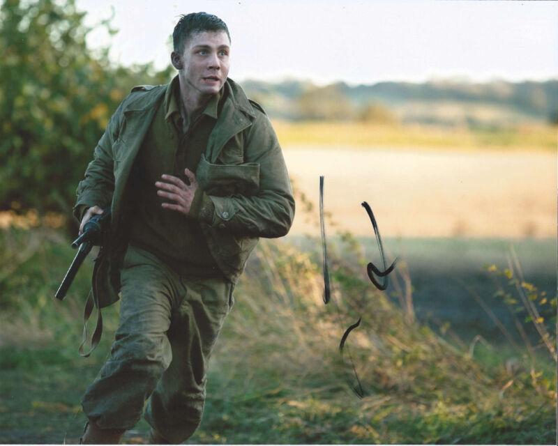 ACTOR LOGAN LERMAN SIGNED 'FURY' 8X10 PHOTO W/COA A BRAD PITT WORLD WAR II