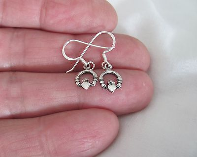 (Sterling Silver 11mm small Celtic claddagh dangle earrings #4960)