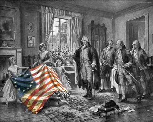 President George Washington Betsy Ross American Flag American History 8x10 Photo