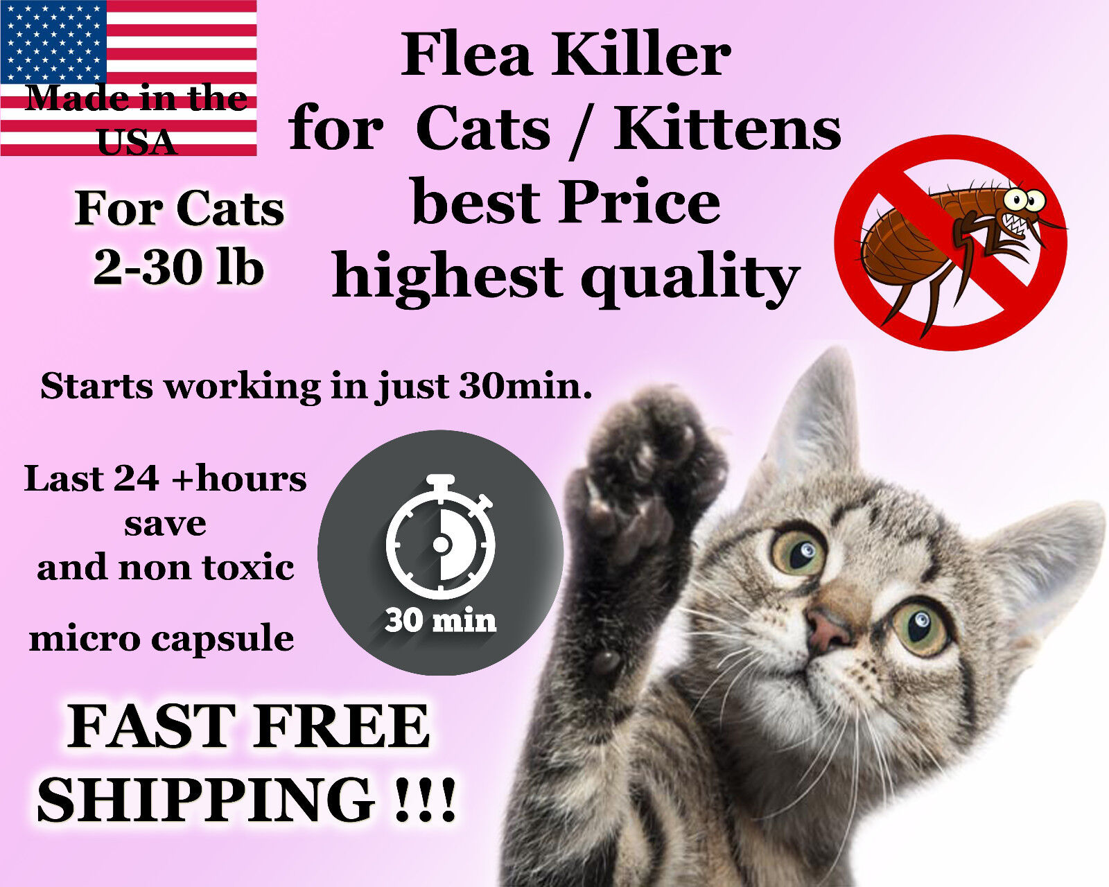 50 Capsules Instant Flea Killer Control Cats / Kittens 2-30lb prevention NEW