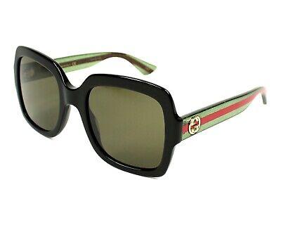 GUCCI Square Urban Sunglasses GG0036/S 002 Black/Green/Red 0036