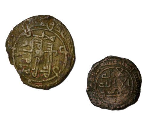 Lot of 2 Arab Islamic AE Fals Fulus Medieval Coins