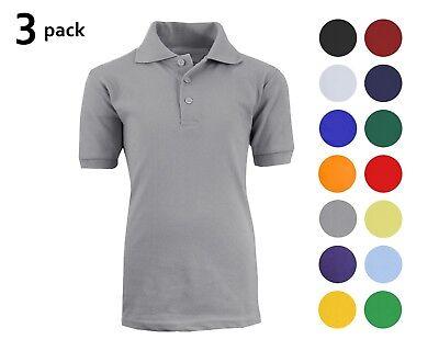 3 Pack School Uniform Polo for Boys Choose Shirts Color - Sizes 4-20 Many Colors Boys School Uniform