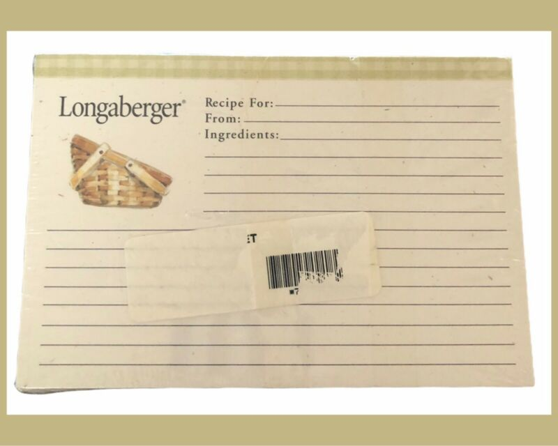 """LONGABERGER 100 Recipe Cards/2 Dividers (A-Z) - 4x6"""" - NEW Sealed - RETIRED"""