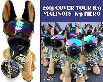 Plush Belgian Malinois MWD Police Dog with Green Vest, Badge & RexSpecs Googles