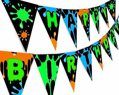 Slime Green Happy Birthday Banner Pennant - Slime Party Decorations - Art Party - Green Pennant