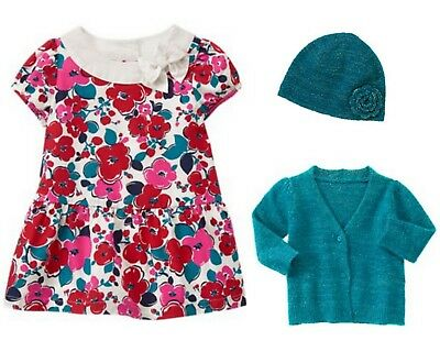 Gymboree NWT 3 6 12 18 24 Month Precious Prep Dress Bloomers Sweater Beanie Set