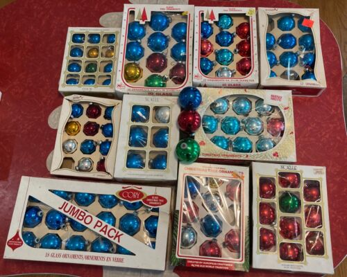 Huge Lot Of Vintage Glass Christmas Ornaments Pyramid Noelle Shiny Brite Coby
