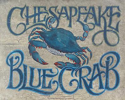 Chesapeake Bay Blue Crab  art decor print vintage  style  chesapeake bay seafood ()