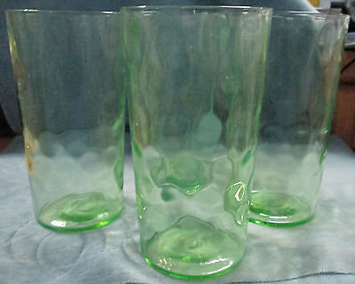 """Set Of Four (4) Depression Green """"Honey Comb"""" Pattern Water Glasses"""