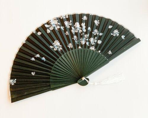 Chinese Japanese Black Bamboo Handfan Folding Fan with White Lotus Flower Print