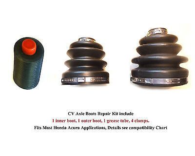 Honda Acura CV Axle Boots Repair Kit, 2 Boots, 4 Clamps, 1 Grease, With Warranty Acura Cv Boot Clamp