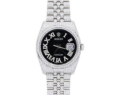 Rolex Datejust 36mm Diamond Watch with 12 carats of diamonds Bezel
