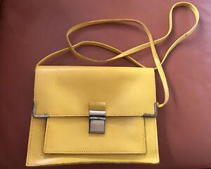 ASOS 100% Leather Crossbody Bag Satchel In Yellow