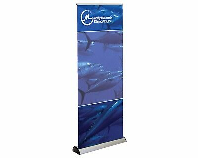 New Retractable Banner Floor Stand 31.5x78 With Carry Case Never Used