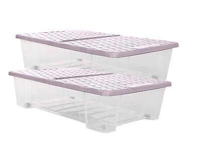 2x Allzweckbox Rollerbox Unterbettbox Aufbewahrungsbox Rattan 25 L Farbe rosa