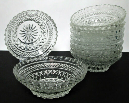 "9 Anchor Hocking Wexford Salad Bowls Vintage Diamond 5 1/2"" Fruit Cereal"