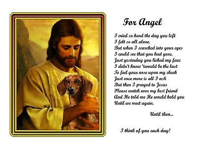 Dachshund Dog Memorial Picture w/Jesus Personalized w/Name Unique Pet-Loss Gift