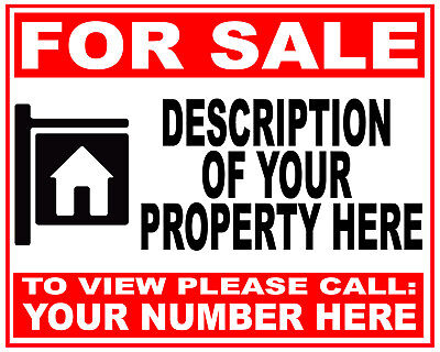Personalised FOR SALE Sign Boards 4MM Correx HOUSE FLAT PROPERTY from £9.99