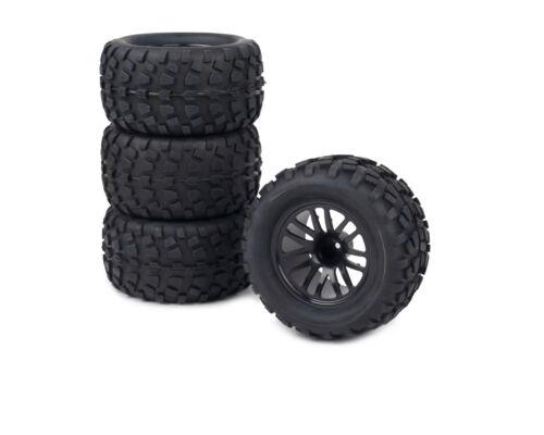 4pk Wheels for Traxxas Stampede VXL / Slash Blacked Out Rim w/ Tires 1/10 12mm