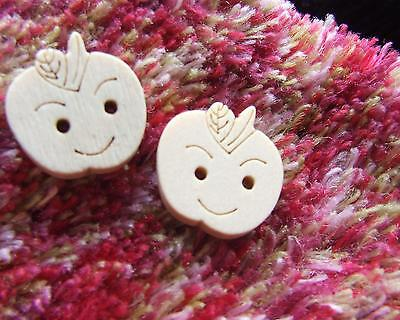 30 Natural Wood Buttons 17 mm Apple Cute Smilie Face Beads Decorative Buttons