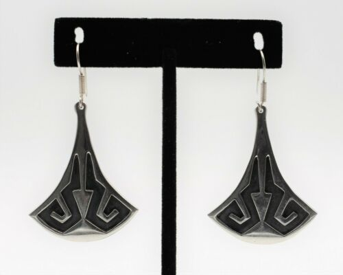 Taxco TS-67 Sterling Silver Earrings Deco Aztec Mexican Silver