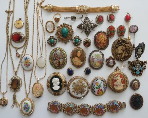 Vintage Antique Cameo Revival Brooch Necklace Bracelet Collectible Lot Signed