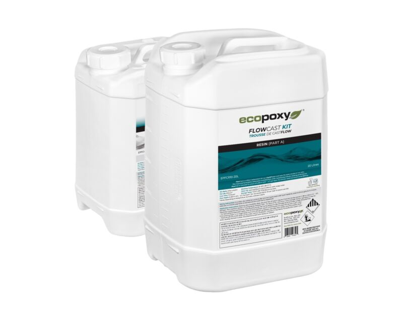 Ecopoxy Resin | Flowcast - New Liquid Plastic 2:1 Ratio (30L (7.9 gal) kit)