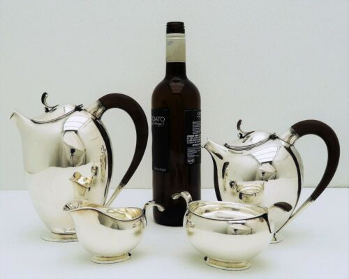 4 pc Hugo Grun  Sterling Silver MidCentury Danish Modern Tea Coffee Set