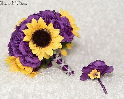Purple Rose and Yellow Sunflower Bride Wedding Bouquet and Groom Boutonniere](Yellow And Purple Wedding)