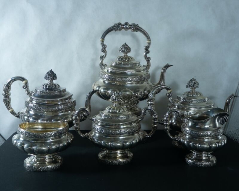 Reed & Barton Sterling silver repousse tea/coffee set with 7pc. 210 Troy ounces