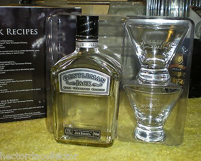 Gentleman Jack Daniels Tennessee Whiskey Bottle w 2 Etched Glasses Collector Set for sale  USA