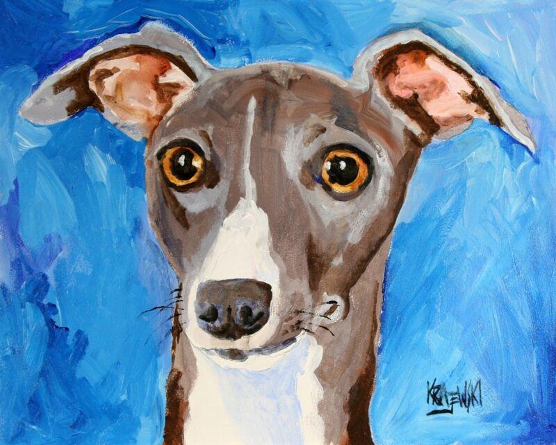 Italian Greyhound Art Print Signed by Artist Ron Krajewski Painting 8x10 Dog
