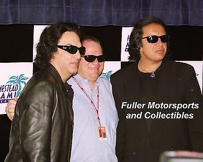 GENE SIMMONS  KISS  PAUL STANLEY CHIP GANASSI 8X10 PHOTO NASCAR HOMESTEAD MIAMI